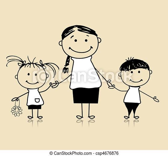 一起, 母親, 圖畫, 愉快, 孩子, 家庭, 微笑, 略述 - csp4676876