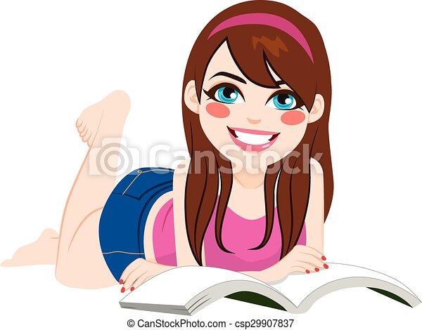 下來, 女孩讀物, 書, 躺 - csp29907837