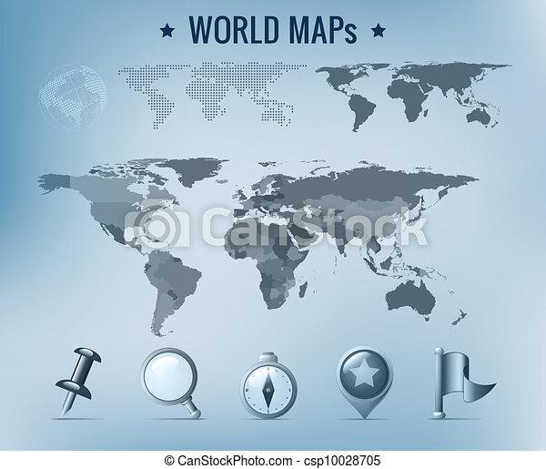 世界地圖, 矢量 - csp10028705