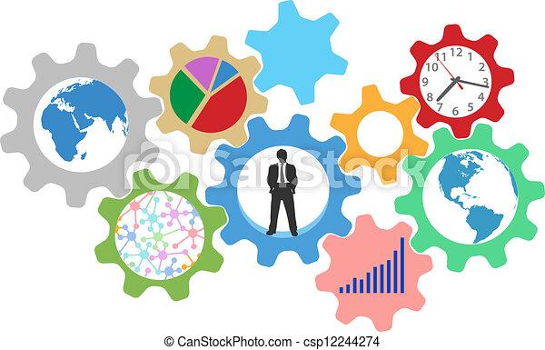 事務, 齒輪, 忙, 人, 工作 - csp12244274