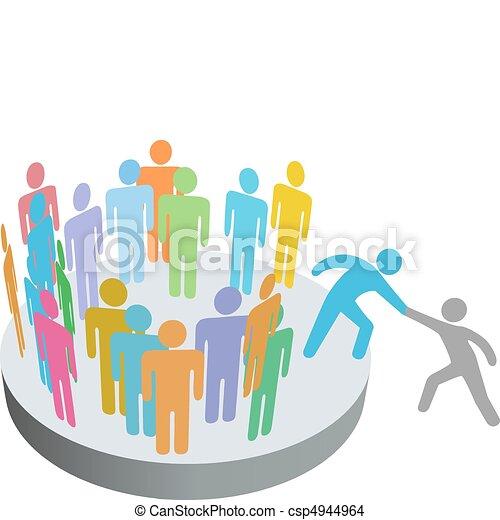 人們, 加入, 幫助, 人, 成員, 組, 公司, 幫手 - csp4944964
