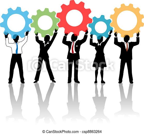 人們, 向上, 齒輪, 隊, 解決, 技術 - csp8863264