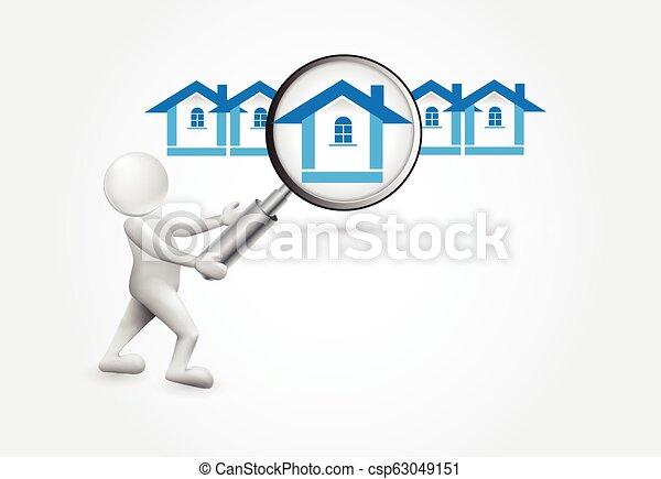 人們, 房子, -, 搜尋, 小, 3d - csp63049151