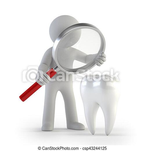 人們, lupe, -, 牙齒, 小, 3d - csp43244125