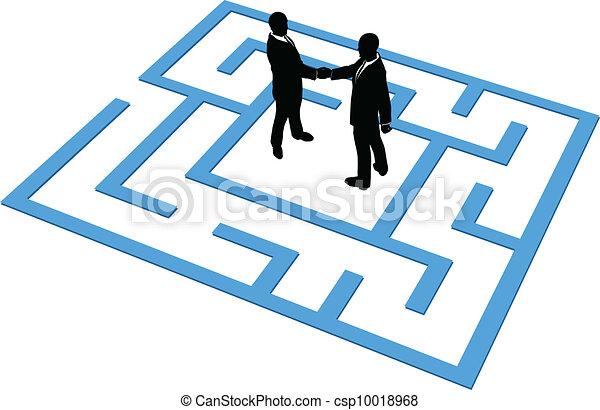 人 事務, 發現, 連接, 隊, 迷宮 - csp10018968