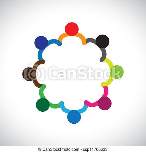 代表, 圖表, diversity., 差异, 孩子, &, 這, 形成, 玩, 人們, 孩子, 也, 概念, 配合, 罐頭, 扣留手, 包含, 隊, 公司, circle. - csp11786633