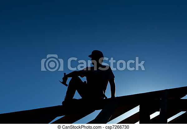 休息, 頂部, 木匠, 屋頂, 或者, 建造者, 結构 - csp7266730