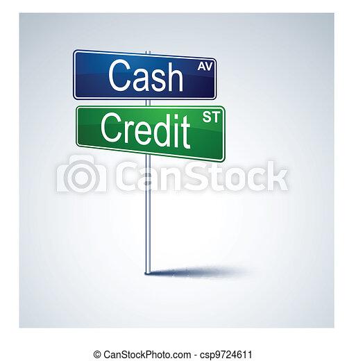信用, 現金, 路, 方向, 徵候。 - csp9724611