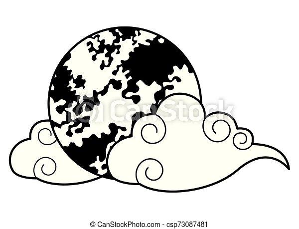 充分, 符號, 被隔离, 月亮, 黑色, 白色, 卡通 - csp73087481