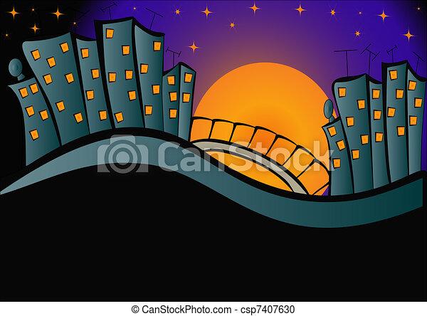 光, 夜晚, 背景, 城市 - csp7407630