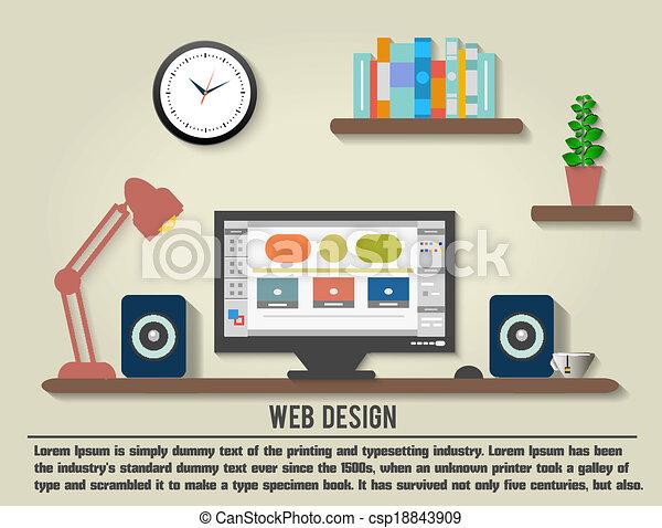 內部設計者, 現代, 辦公室, 桌面 - csp18843909