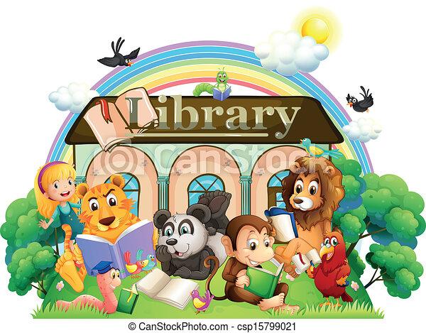 前面, 閱讀, 動物, 圖書館 - csp15799021
