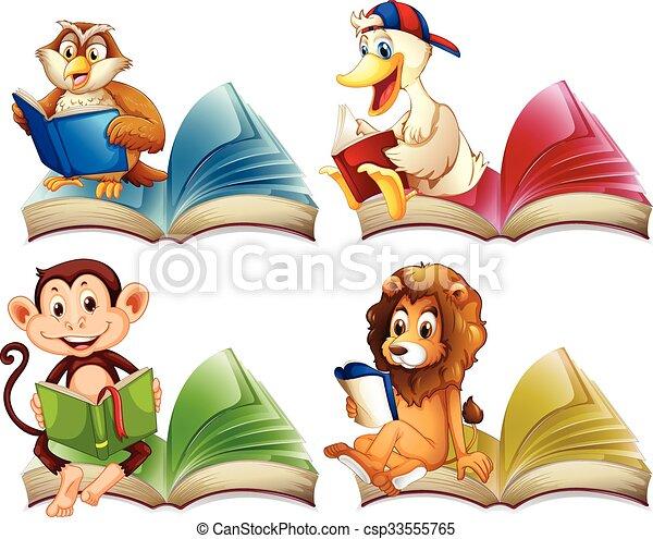 動物, 書, 閱讀, 荒野 - csp33555765