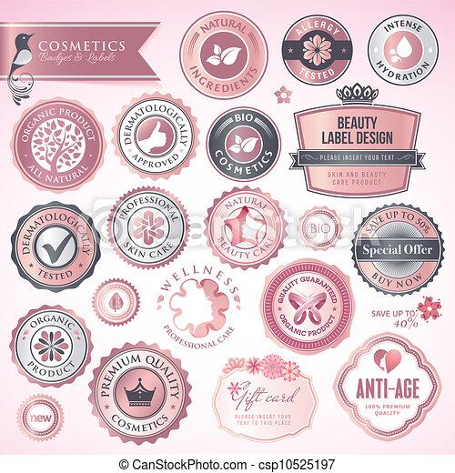 化妝品, 徽章, 標籤 - csp10525197