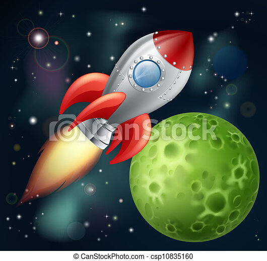 卡通, 火箭, 空間 - csp10835160