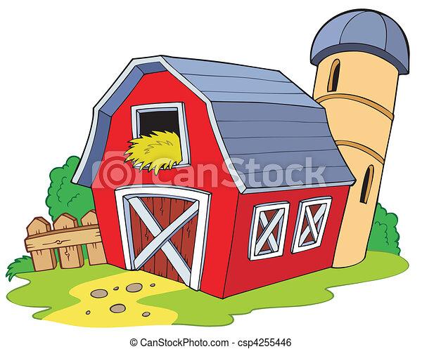 卡通, 紅的谷倉 - csp4255446