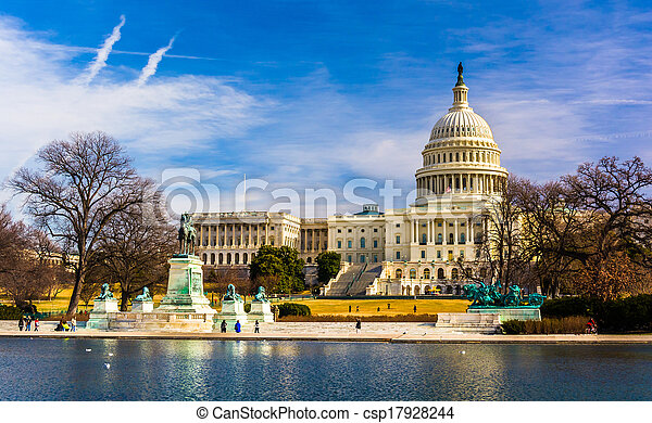 反射, 華盛頓, dc., 州議會大廈, 池 - csp17928244
