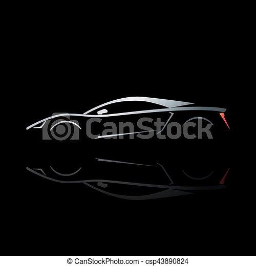反映。, 汽車, 概念, 黑色半面畫像, 運動 - csp43890824