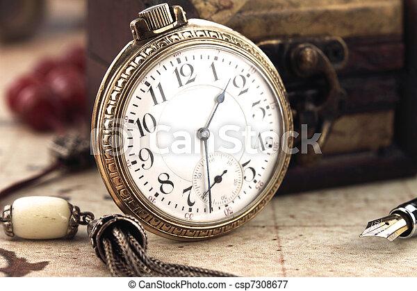 古董, 裝飾, 鐘, 口袋, 對象, retro - csp7308677