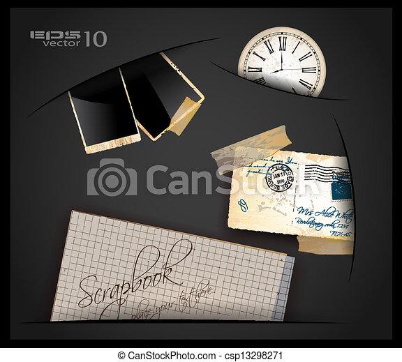 古董, hole., 很少, 使用, 老, 鐘, 紙, 葡萄酒, postcard., 框架, 材料, 來, 剪貼簿, 相片, 在外 - csp13298271