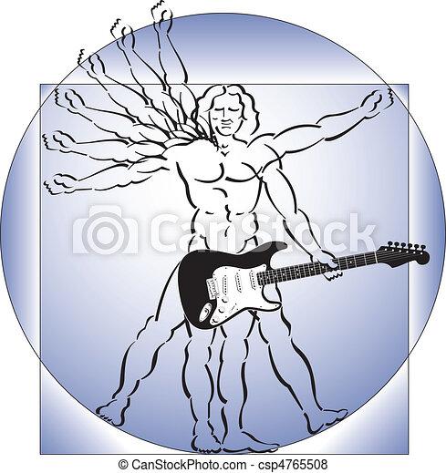 吉他, vitruvian 人 - csp4765508