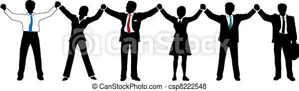 商業界人士, 隊, 向上, 手, 線, 握住 - csp8222548