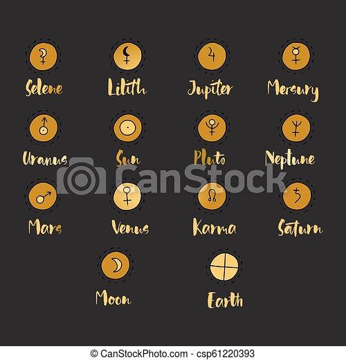 圖表, 集合, elements., 心不在焉地亂寫亂畫, symbols., 設計, 占星術, 占星術 - csp61220393