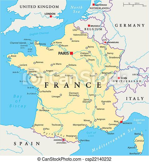 地圖, 政治, 法國 - csp22140232