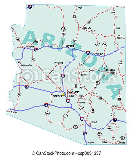 地圖, 狀態, 亞利桑那, 州際 - csp3031337