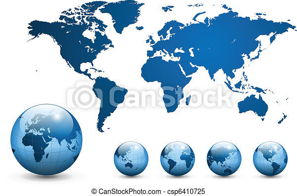 地圖, vector., 世界 - csp6410725
