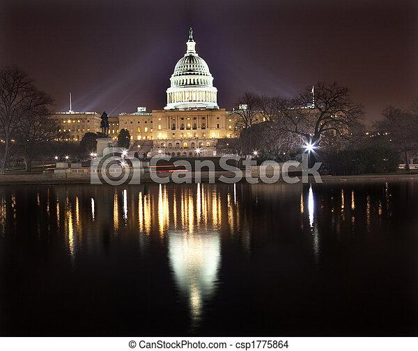 夜晚, 我們, 華盛頓, 反映, dc, 州議會大廈 - csp1775864