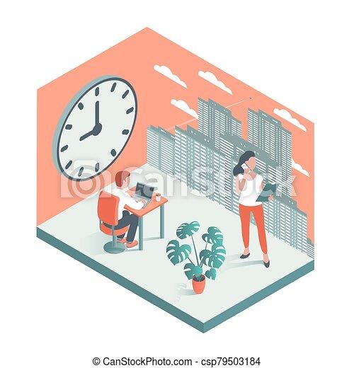 大, 工作, 辦公室人們, 針對, 背景, clock. - csp79503184