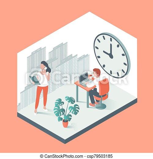 大, 工作, 辦公室人們, 針對, 背景, clock. - csp79503185