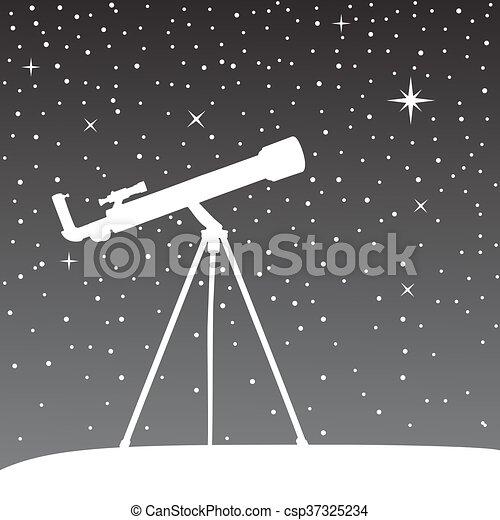 天空, 夜晚, 黑色半面畫像, 望遠鏡, 背景。 - csp37325234