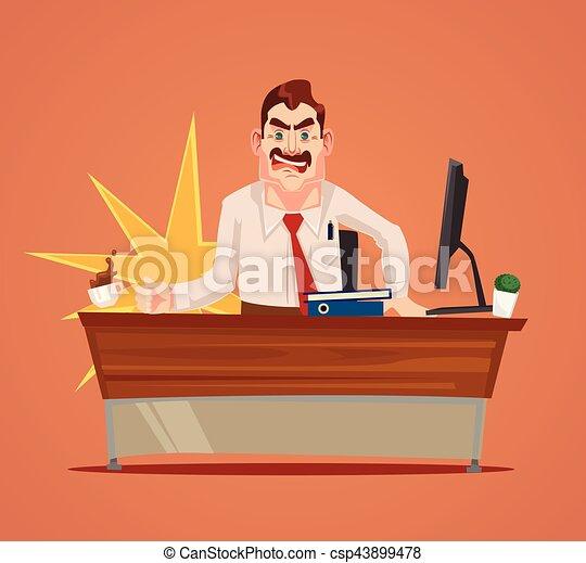套間, 憤怒, 字, 插圖, 老板, 矢量, scream., 卡通 - csp43899478