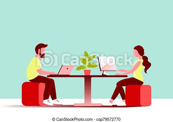 女孩, 年輕, computer., 辦公室, 人, 工作 - csp79572770