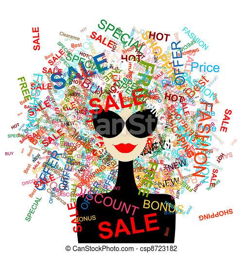 婦女購物, 概念, 設計, 愛, 時裝, 你, sale! - csp8723182