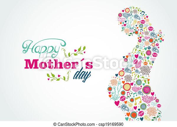 婦女, 黑色半面畫像, 母親, 怀孕, 插圖, 愉快 - csp19169590