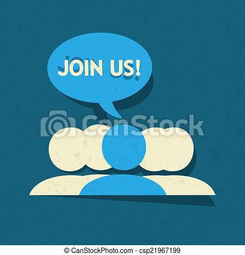 媒介, 組, 我們, 加入, 社會 - csp21967199