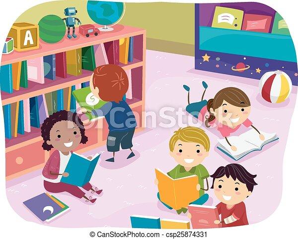 孩子, stickman, 閱讀, 幼儿園, 時間 - csp25874331