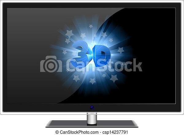 寬, tv 屏幕, 現代, 被隔离, 簽署, white., 3d - csp14237791