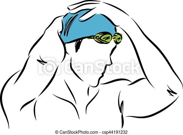 專業人員, 插圖, 人, 矢量, 游泳者 - csp44191232