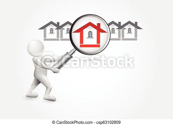 小的房子, -3d, 搜尋, 人們 - csp63102809