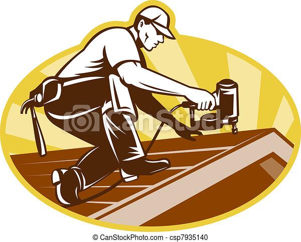 屋頂, 屋頂, 工作, 屋面工, 工人 - csp7935140