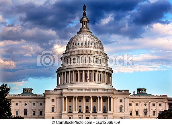 州議會大廈, 國會, 華盛頓特區, 我們, 圓屋頂, 房子 - csp12666759