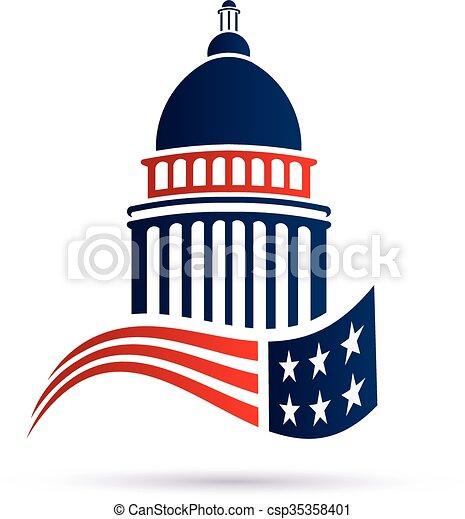 州議會大廈, 矢量, flag., 設計, 標識語, 美國人, 建築物 - csp35358401