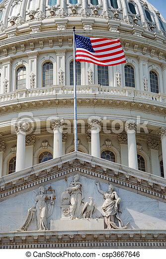 州議會大廈, 華盛頓特區, 美國旗, 建築物 - csp3667646