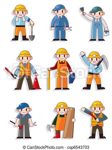 工人, 卡通, 圖象 - csp6543703