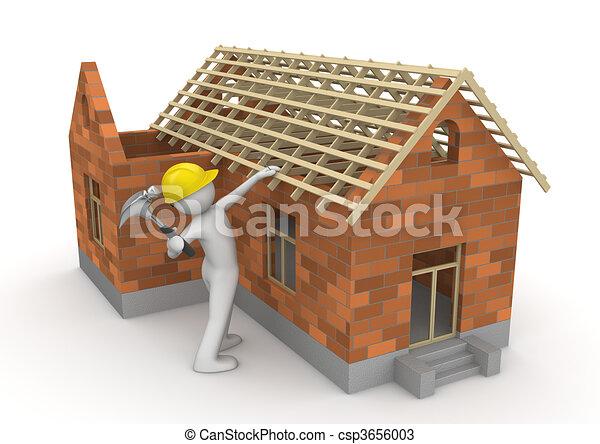 工人, -, 木匠, 彙整, 屋頂, 木材 - csp3656003