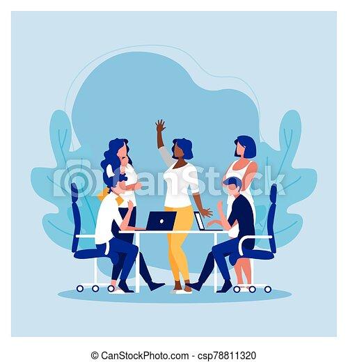 工作, 友好, 辦公室, 協調, 隊, 人們, 組, 商業辦公室 - csp78811320